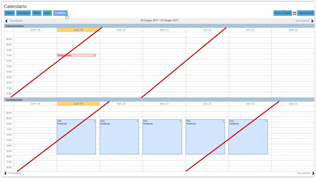Calendario condiviso in sola lettura