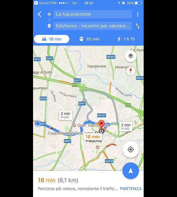 Indicazioni stradali a partire dal luogo in cui ci si trova