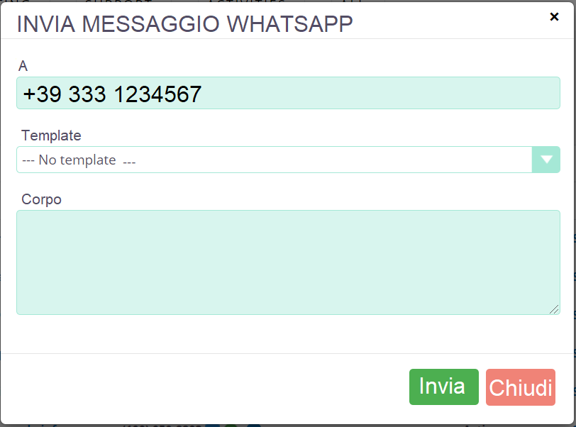 WhatsApp Messaggio singolo SuiteCRM