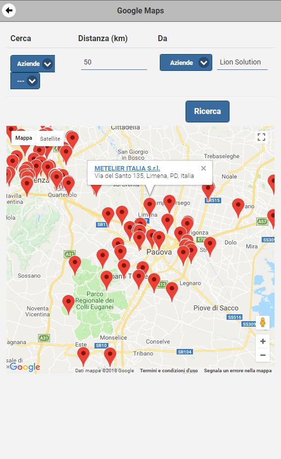 Visualizza via smartphone Mappa Aziende nel CRM nel raggio di 50 Km
