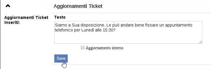 Aggiornamenti ticket