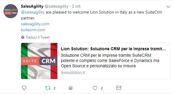 Lion Solution Partner ufficiale SuiteCRM